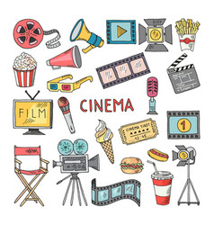 movie entertainment icon set pictures in vector image