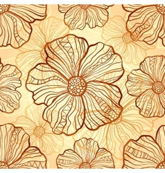 Ornate poppies seamless pattern vector image vector image