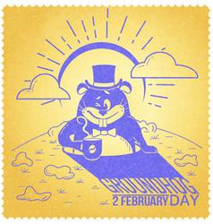 Retro happy groundhog day vector