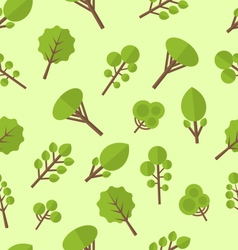 Seamless pattern with different trees in flat vector image