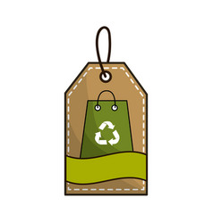 Bag with recycling symbol inside of label vector