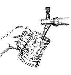 beer pours glass from beer tap engraving vector image