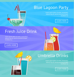 blue lagoon party fresh juice drinks with umbrella vector image vector image