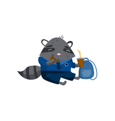cute funny little raccoon student sitting on the vector image vector image