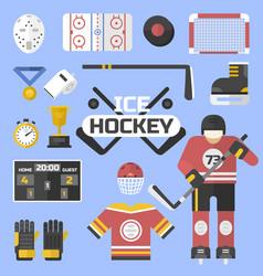 hockey sport icons equipment design vector image
