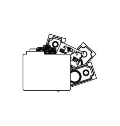Monochrome contour of folder with money accounts vector