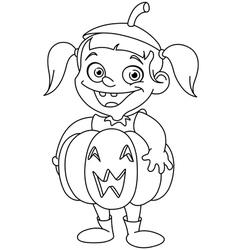 outlined pumpkin kid vector image vector image