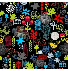Seamless pattern with birds in the forest vector image