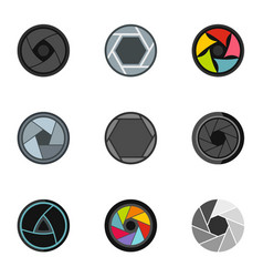 focus photo icons set flat style vector image