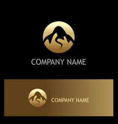gold mountain nature logo vector image vector image