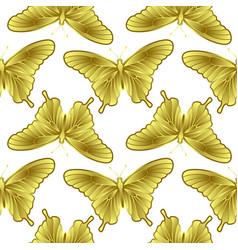 Golden butterfly seamless pattern vector