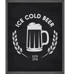 Ice cold beer poster Pub emblem on chalkboard vector image