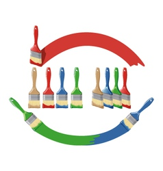 Paint brush and dab paint multi color set vector image