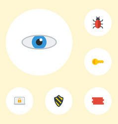 flat icons virus shield lock and other vector image vector image