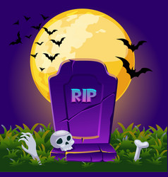 Gravestone at night with full moon halloween vector