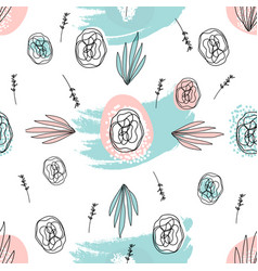 Abstract hand drawn floral doodle pattern vector