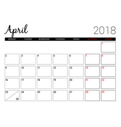 April 2018 printable calendar planner design vector
