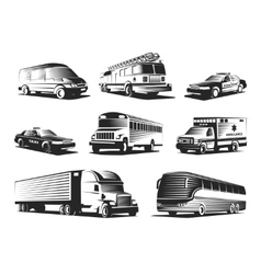Automotive Transport Monochrome Set vector