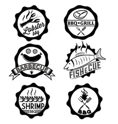 BBQ seafood steak labels icons badges template set vector image