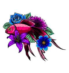 beautiful hand drawn koi carp fish in lotus water vector image