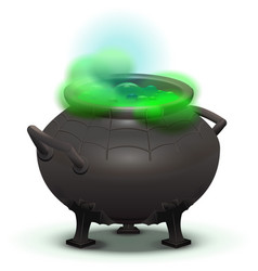 Big black cauldron cook green magic potion vector