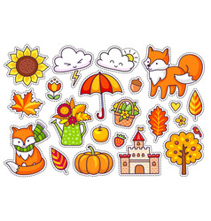 Big set of cute autumn plants foxes clouds vector