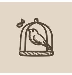 Bird singing in cage sketch icon vector image