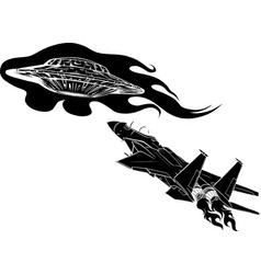 Black silhouette battle star space from a ufo vector