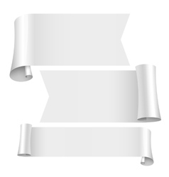 Blank scrolls of white paper stickers set vector