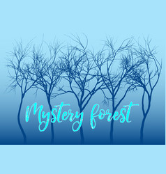 blue mystery forest trees vector image