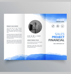 Blue watercolor trifold brochure design template vector