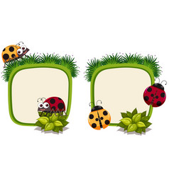 Border template with ladybirds vector