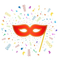 Bright carnival masks with confetti on white vector image vector image