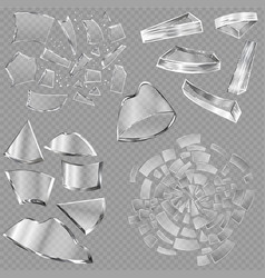 Broken glass sharp pieces window and vector