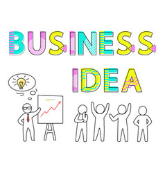 business idea promo poster with human silhouettes vector image