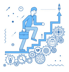 Business ladder stairs businessman goes to success vector