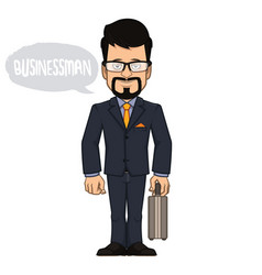 Businessman with briefcase in hand vector