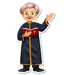 Cartoon character of priest reading bible sticker vector