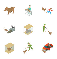 Catch the animal icons set isometric style vector
