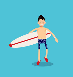 Character with a surfboard goes to the sea to surf vector