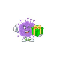 Cheerful coronavirus influenza holding a gift box vector