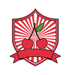 cherry fresh healthy food emblem vector image