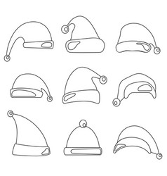 christmas hat set santa claus hats line design vector image