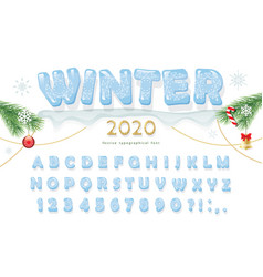 christmas ice decorative font new year 2020 vector image