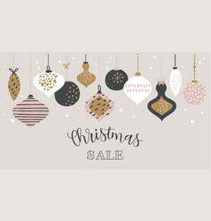 christmas sale banner template typography vector image