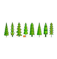 christmas tree icons set new year pine vector image