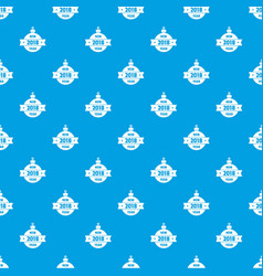 christmas tree toy pattern seamless blue vector image