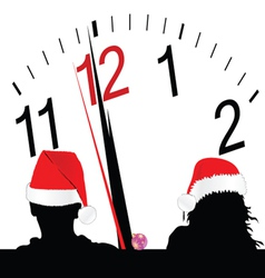 couple with red hat and a clock in the background vector image