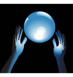 crystal ball future in hands vector image