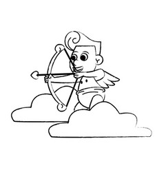 cupid on cloud with arch sketch vector image